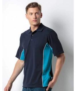 Polo deportivo azul marino con turquesa