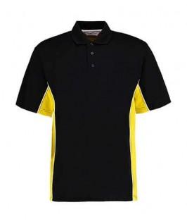 Polo deportivo negro con amarillo