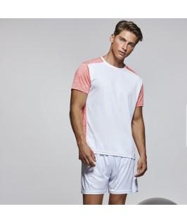 Detalle Camiseta técnica de manga corta Zolder de Roly blanco con rosa jaspeado y cora