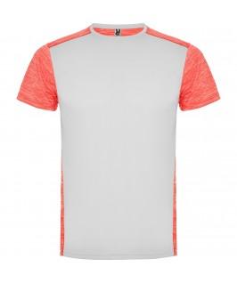 Camiseta técnica Blanco con rosa jaspeado y coral