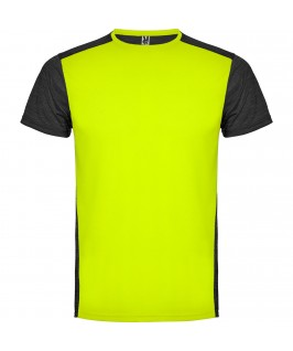 Camiseta técnica de manga corta Zolder de Roly Amarillo y negro