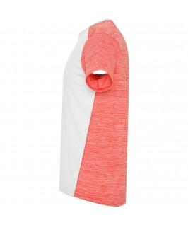 Camiseta técnica de manga corta Zolder de Roly blanco con rosa jaspeado y coral dealle lateral 1