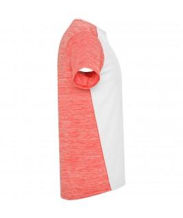 Camiseta técnica de manga corta Zolder de Roly blanco con rosa jaspeado y coral detalle lateral 2