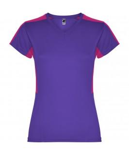 Camiseta técnica lila con fucsia