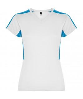 Camiseta técnica Blanca con turquesa