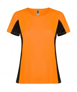 Camiseta técnica Shanghai Woman Roly Naranja fluorescente y negro