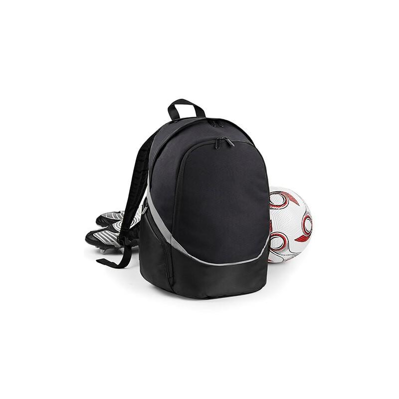 Mochila negra con bolsillo para pelota