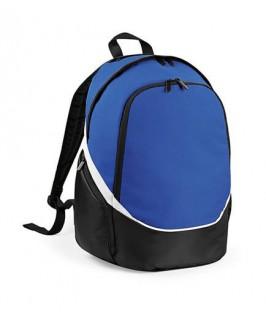 Mochila azul eléctrico con bolsillo para pelota