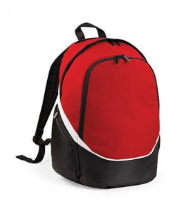 Mochila roja con bolsillo para pelota