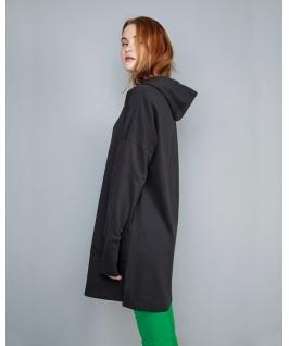 Sudadera larga con capucha negra