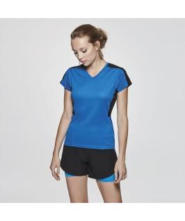 Camiseta técnica azul eléctrico con negro