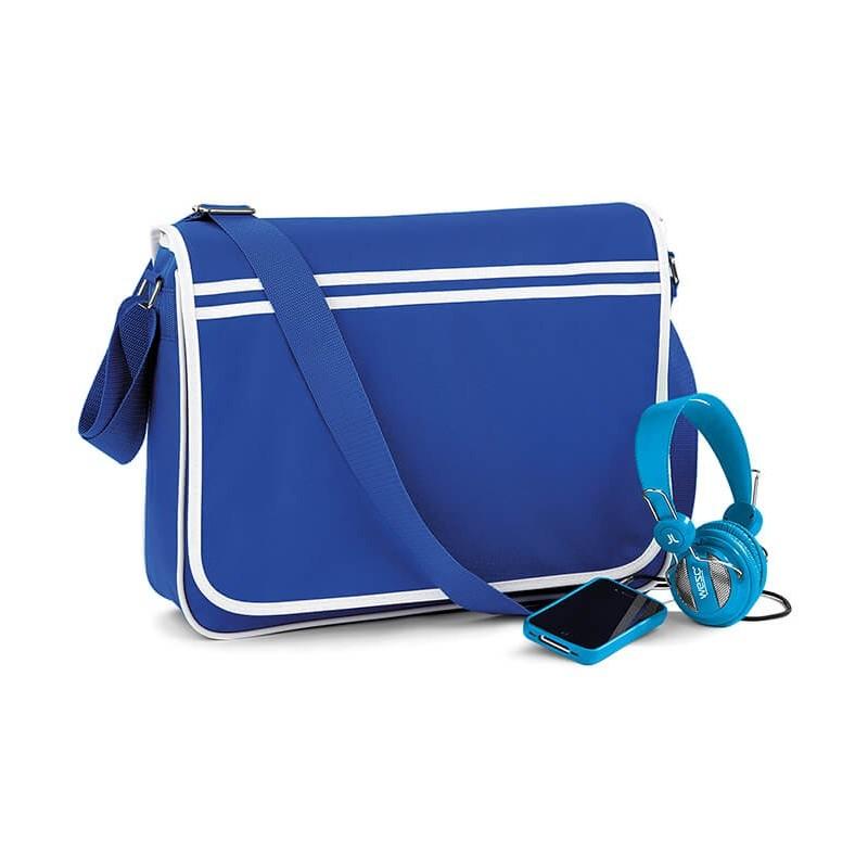 Bolsa Messenger Retro azul eléctrico con blanco