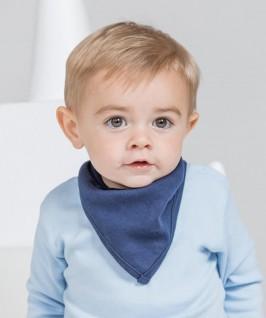 Babero bandana reversible blanco con azul marino