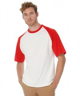 Camiseta baseball blanco con rojo