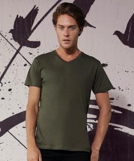 Camiseta orgánica cuello V caqui