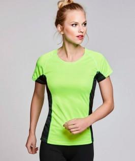 Camiseta técnica verde fluorescente con negro