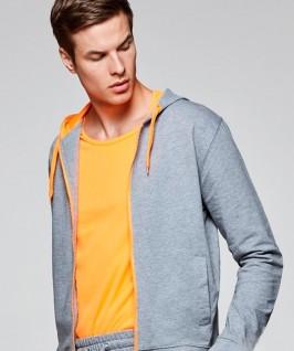 Sudadera capucha y cremallera gris jaspeado con naranja fluorescente