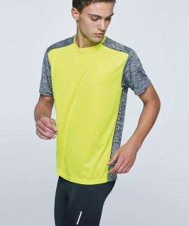 Camiseta técnica amarillo fluorescente con negro