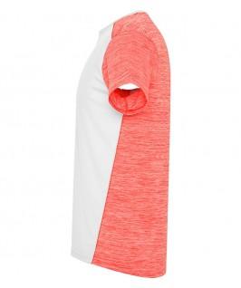 Camiseta parte brazo izquierdo blanco con coral