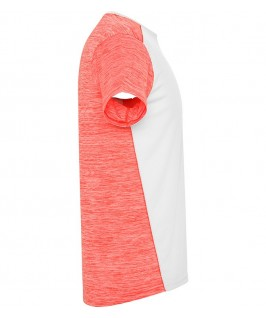 Camiseta parte brazo derecho blanco con coral