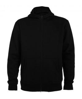 Sudadera con capucha parte delantera color negro