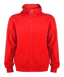 Sudadera con capucha de color rojo