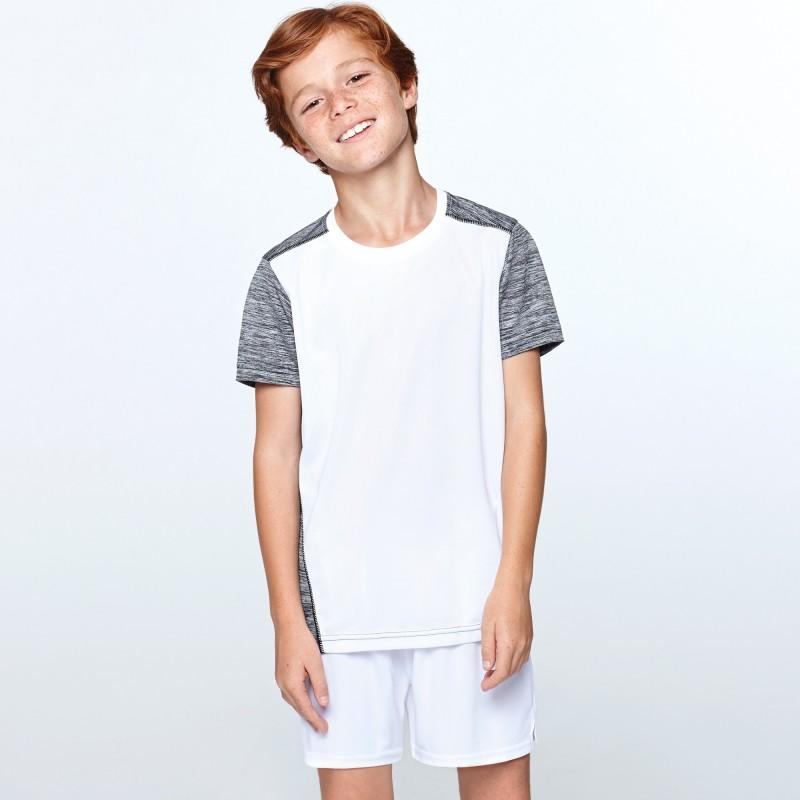 Camiseta técnica manga corta Niños Zolder de Roly de color blanco con gris
