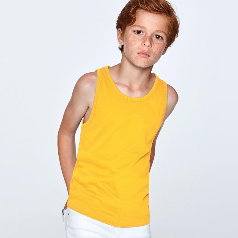 Camiseta Tirantes Niño Texas de Roly de color amarillo oro