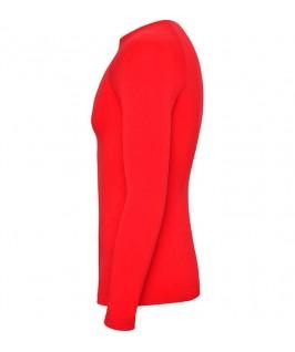 Camiseta técnica parte brazo izquierdo de color rojo