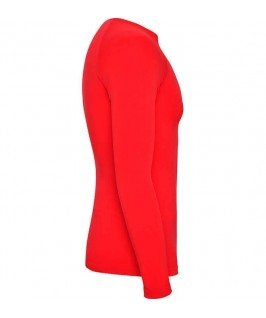 Camiseta técnica parte brazo derecho de color rojo