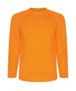 Camiseta técnica de color naranja fluorescente