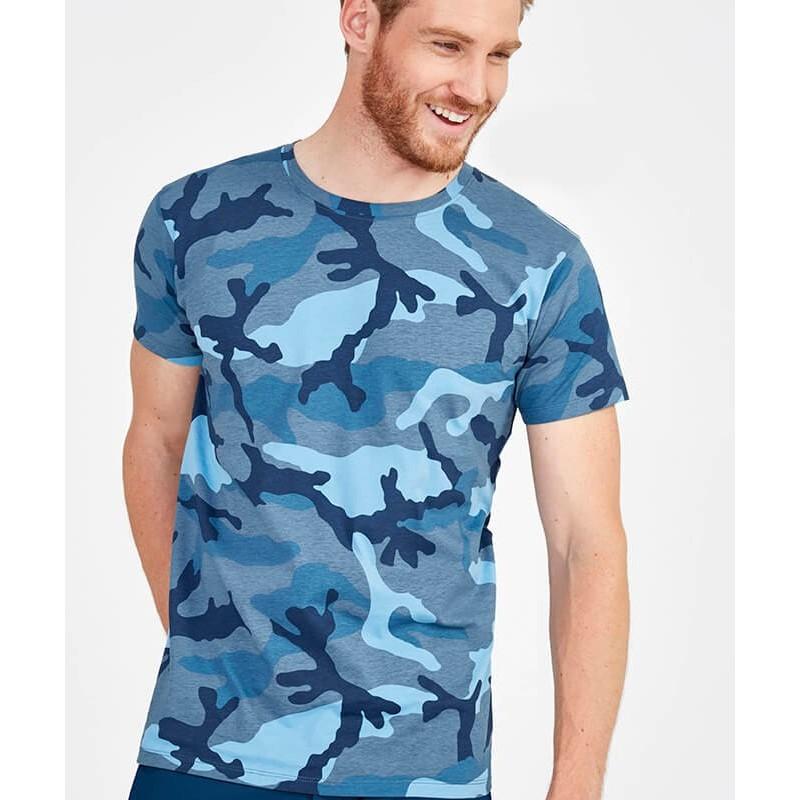 Camiseta Manga Corta Hombre Camuflaje azul
