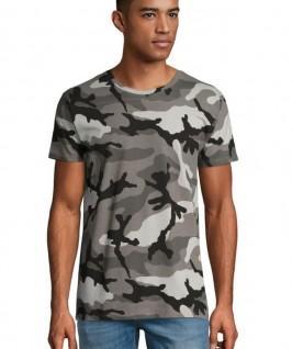 Camiseta Manga Corta Hombre Camuflaje gris