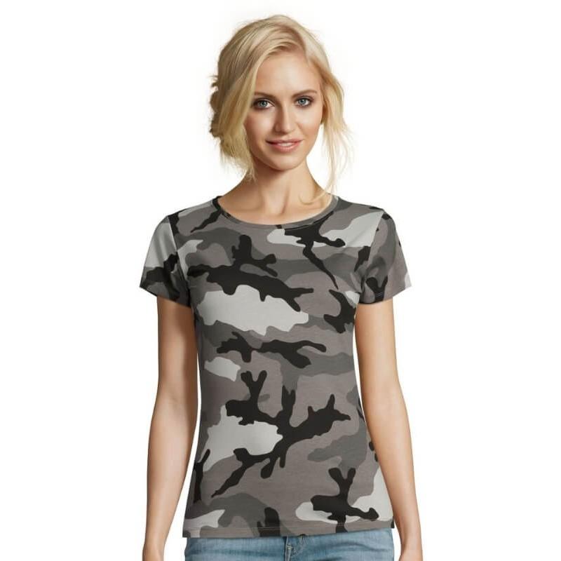 Camuflaje amp;m Para MujerSol's Camiseta Manga Corta De C cF1JTK3l