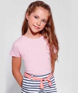 Camiseta manga corta rosa suave