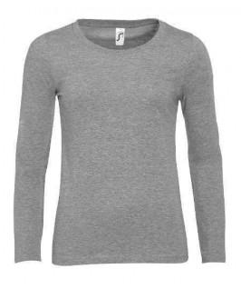 Camiseta manga larga gris jaspeado