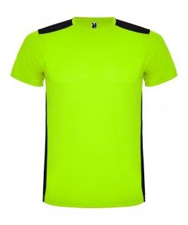 Camiseta técnica de color lima con negro