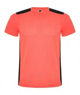 Camiseta técnica coral fluorescente con negro