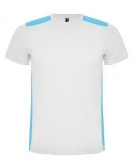 Camiseta técnica de color blanco con turquesa