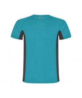 Camiseta técnica Shanghai turquesa con gris