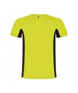 Camiseta técnica Shanghai amarillo fluorescente con negro