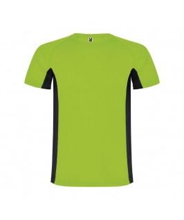 Camiseta técnica Shanghai verde fluorescente con negro