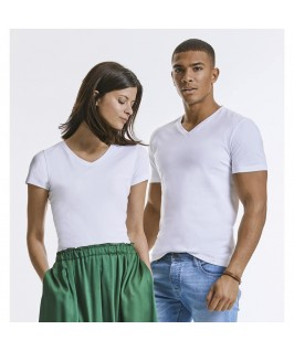 Camiseta orgánica cuello pico blanca