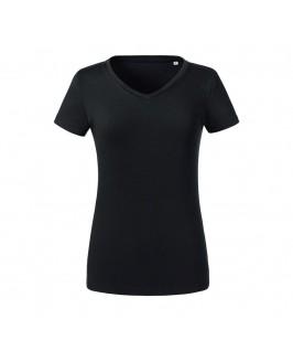Camiseta orgánica cuello pico negra