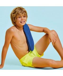 Bañador niño amarillo fluor