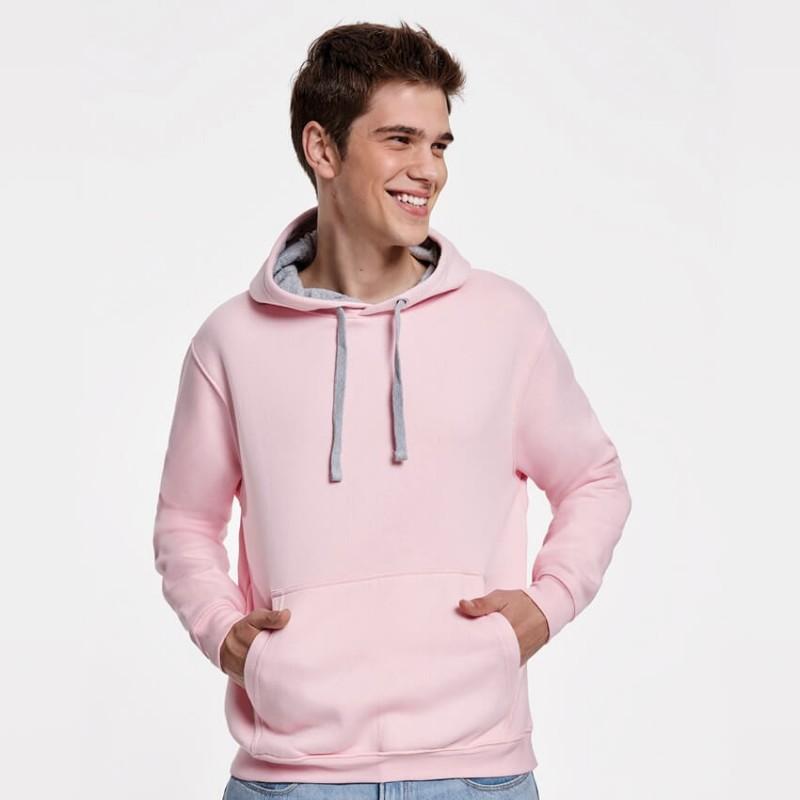 Sudadera rosa con gris