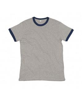 Camiseta gris jaspeado con azul marino