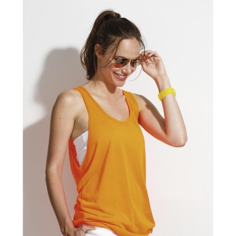 Camiseta tirantes naranja fluorescente