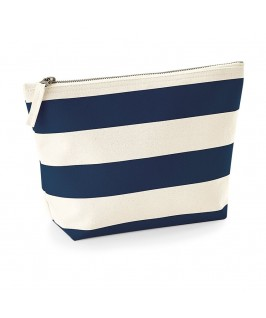 Neceser Nautical rayas natural con azul marino