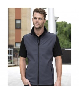 Chaleco softshell gris oscuro con negro